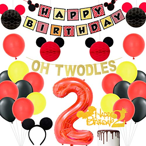 Sursurprise Mickey Motto 2. Geburtstag Dekorationen, Oh Twodles und Happy Birthday Banner, Nummer 2 Folienballon und Cake Topper, schwarzen und roten Wabenkugeln für Zwei Jahre Alten Geburtstag