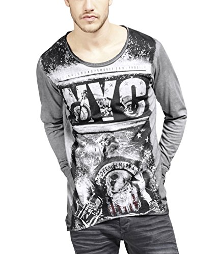 trueprodigy Casual Hombre Marca Camiseta Manga Larga con impresión Estampada Ropa Retro Vintage Rock Vestir Moda Cuello Redondo Manga Larga Slim fit Designer Shirt, Colores:Anthracite, Tamaño:L