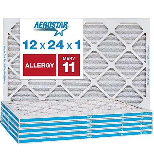 Aerostar Allergen and Pet Dander 12x24x1 MERV 11 Pleated Air Filter Made in the USA 6 Pack
