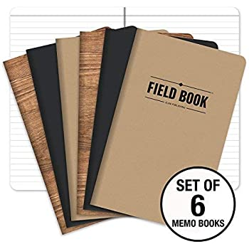 "Field Notebook/Journal - 5""x8"" - Combo Colors - Lined Memo Book - Pack of 6"