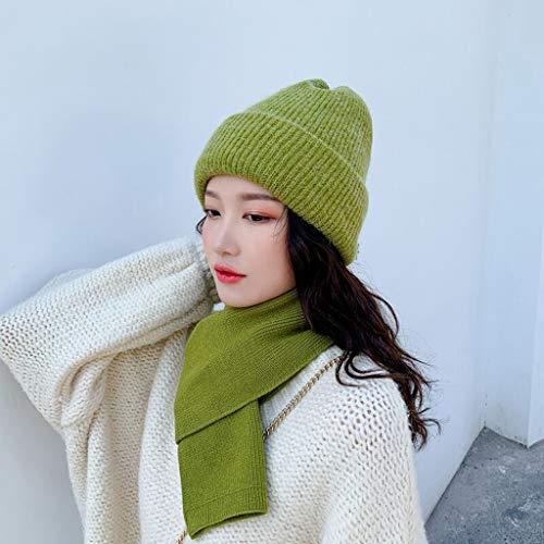 ECSWP MZWJTJKD Bolsa de Invierno Sombrero de Punto Sombrero 2pcs Set para Mujeres Gorros Gorros cálidos Gruesos Orejas Sombrero de Punto Gorra de esquí al Aire Libre (Color : Green)