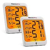 ThermoPro 温湿度計 室内温度計デジタル キャンプ温度計 最高最低温湿度値表示 LCDバックライト機能付き2パックTP53