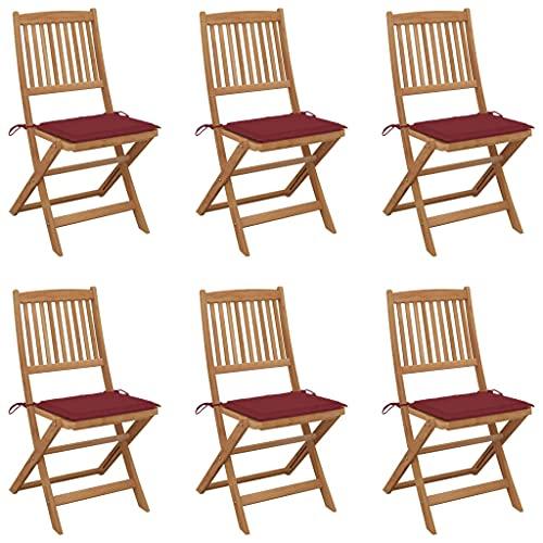 vidaXL 6X Madera Maciza Acacia Sillas de Jardín Plegables y Cojines Sillón Exterior Terraza Balcón Patio Asiento Butaca Muebles Mobiliario Duradera