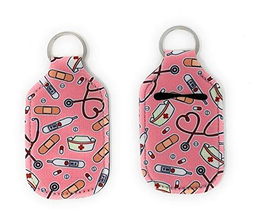 Hand Sanitizer Holder for Backpack Kids Travel Size Baseball Softball Keychain (Nurse, Pack of 2)