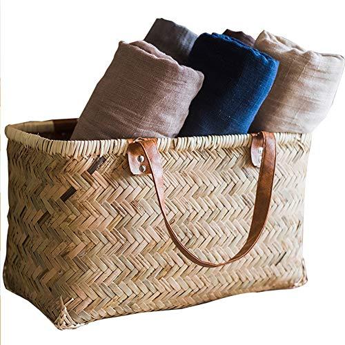 ShiLei Cesta Artesanal de bambú, Cesta Tejida de Almacenamiento de artículos Diversos, Materiales biodegradables, Pintura de Color de Seguridad alimentaria, Natural