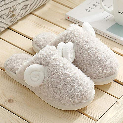 XIUYU Plüschfutter Hausschuhe, Haus niedliche kleine Schafe Plüschhausschuhe, rutschfeste warmen Paar Baumwollschuhe-White_UK3-UK3.5, Fleece Slipper warmen Innenhausschuh