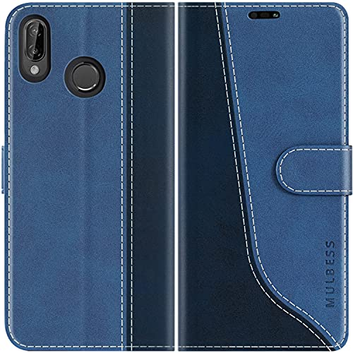 Mulbess Custodia per Huawei P20 Lite, Cover Huawei P20 Lite Libro, Custodia Huawei P20 Lite Pelle, Flip Cover per Huawei P20 Lite Portafoglio, Diamante Blu