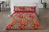 Burrito Blanco Juego de Funda Nórdica 095 con un Diseño Ornamental para Cama de Matrimonio de 135x190 hasta 135x200 cm/Funda Nórdica Moderna 135, Color Rojo