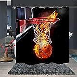 Shower Curtain Set with Hooks Basketball Basket Net Backboard Fire Score Gold Bathroom Decor Waterproof Polyester Fabric Bathroom Accessories Bath Curtain 72 x 72 inches