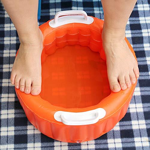 Alomejor Aufblasbares Becken Aufblasbare Große Fußbad Badekurort Schüssel für Waschende Teller Wassereis Eimer Kleidungs Diverses(Orange)