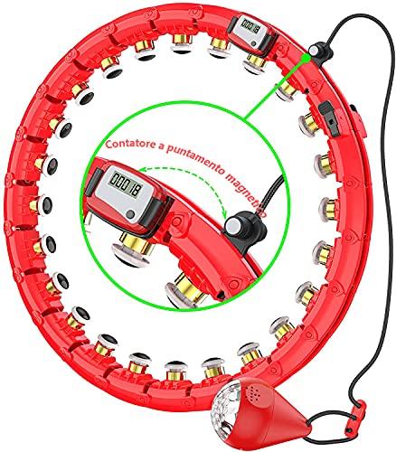 SLERFT Hula Reifen für Erwachsene & Kinder, 15-24 Teiliger Abnehmbarer Hoola Hoop Reifen, Intelligentes zählen Hula Reifen für Gewichtsverlust/Bauchformung/Workout/zu Hause Fitness. (rot-1)