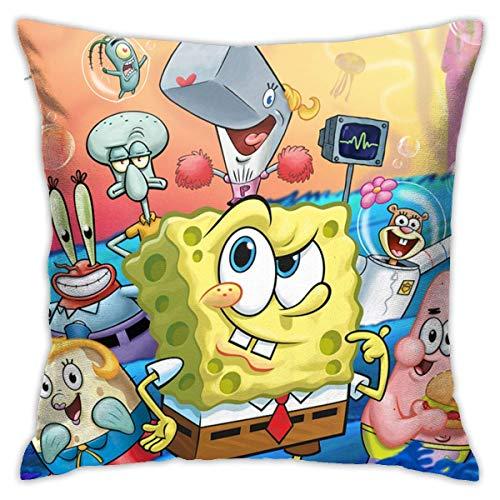 N \ A Funda de cojín decorativa de Bob Esponja para sofá o sofá, 45,7 x 45,7 cm