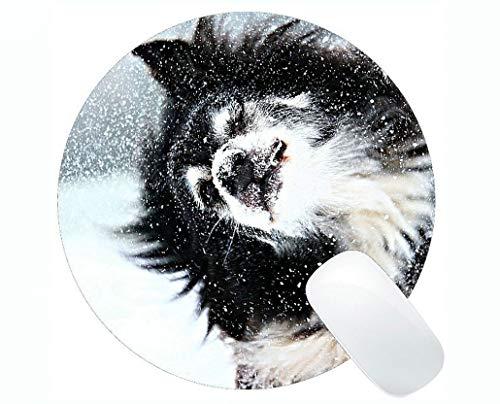 Runde Mausunterlage, Schnee-Hunderand-Schneeflocke-Winter-Hund in der Schnee-Spielmausunterlage