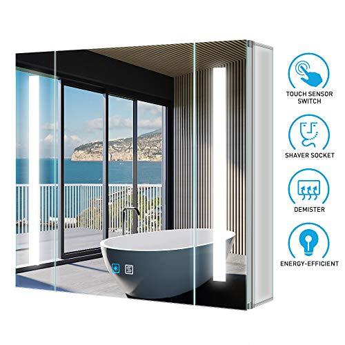 Tokvon Alameda 65x60cm Spiegelschrank LED Badezimmer Spiegelschrank mit Beleuchtung Wandschrank Licht Aluminium Beschlagfrei Rasier Steckdose Touch