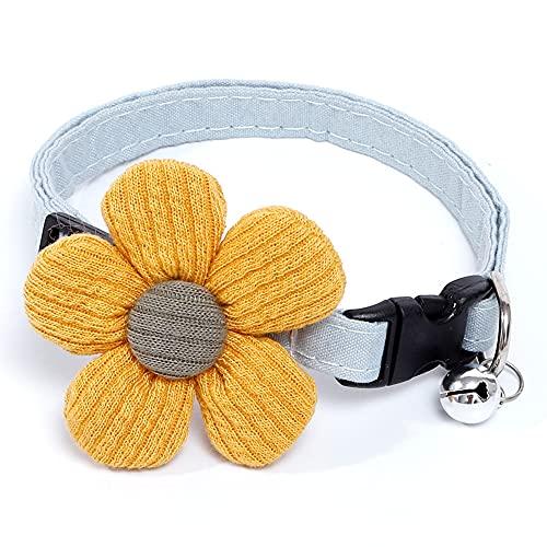 Collar de gato floral para mascotas con campana y anilla en D, collar ajustable de algodón para perro para mayor seguridad, collar de gatito