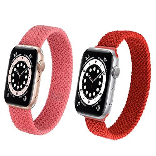 WWANG 2 Pack Deporte Banda Trenzada Compatible con la Serie de Bandas de Relojes Apple 6 5 4 3 2 1 SE,Red/Pink,42mm/44mm L