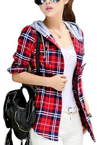 Damen Bluse Kariertes Hemd Langarm Blusenshirt Kapuzen T-Shirt Plaid Shirt Freizeithemd Red L