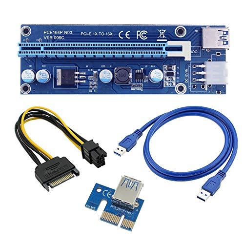 Generico Riser USB V007 6 Pin e SATA -PCI-E 1 X a 16 Cavo USB 3.0 Mining Rig GPU BTC Ethereum