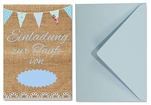 Einladungskarten zur Taufe für Jungen im Vintage Look / 8 süße Einladungen DIN A6 in Pastell Tönen und 8 Umschläge in Hellblau / süße Einladungen für Tauffeier Junge