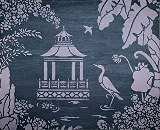 Pagoda Insert for Oriental Toile Wall Stencil by Jeff Raum