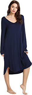 قمصان نوم WiWi Bamboo للنساء ناعمة بأكمام طويلة قميص نوم مريح ملابس نوم مقاس كبير S-4X