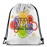 KKs-Shop Mochila con cordón Bolso Bandolera para Senderismo Natación Nueva York Tipografía Gráfico NYC Impresión Hombre Original Ropa Emblema