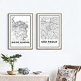 Brasilien Sao Paulo Karte Kunstdruck Poster Wanddekor,