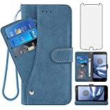 Asuwish Compatible with Moto Z Force Droid Wallet Case and Tempered Glass Screen Protector Flip Cover Credit Card Holder Stand Cell Accessories Phone Cases for Motorola ZForce XT1650 Women Men Blue