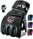EMRAH Sturdy Hide Leather Grappling MMA Gloves Cage Fighting Sparring Glove Training F7W (Black/Grey, Large)