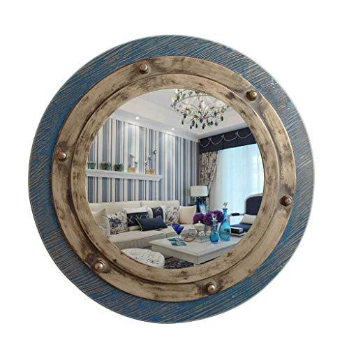 HLWJXS Spiegel Badezimmer Wand Make-up Spiegel Spiegel Retro Mediterrane Runde Dekorative Spiegel Wandbehang Spiegel Korridor Spiegel