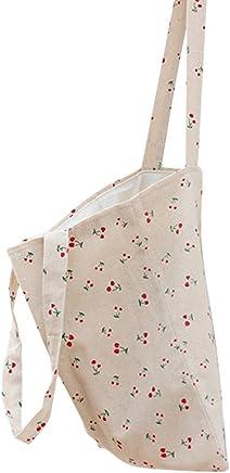 06c6bbaf5190c Chezi Women s Cute Cherry Cotton Canvas Tote Shoulderbag Shopping Bag Beige