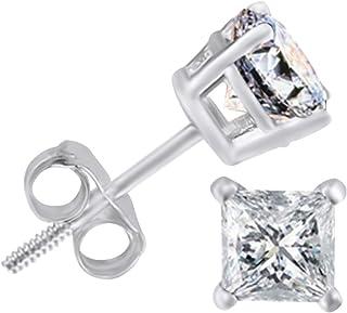 Boucles d'oreilles 1 Ct Princesse Rubis Baguette ronde Boucles d'oreille en Diamant Carré Clou 14K or jaune