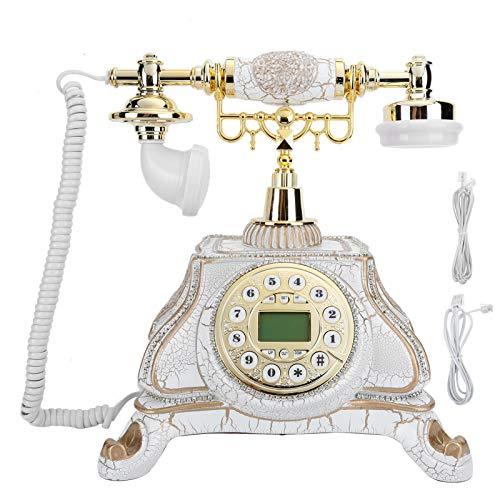 Teléfono Fijo con Cable de diseño Retro - Clásico Vintage Old Fashioned Rotarys Dial Style Mesa de Escritorio Oficina en casa Auricular con Cable en Espiral con marcación por botón