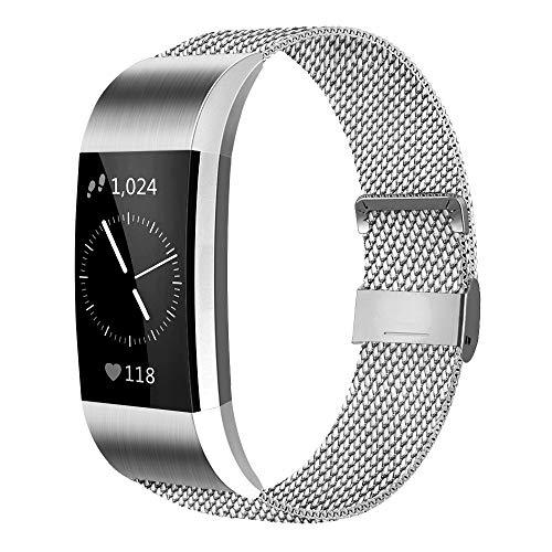 AK Kompatibel Für Fitbit Charge 2 Armband (2 Größen), Metall Mesh Magnetverschluss Edelstahl Ersatzband für Fitbit Charge 2 (Silber, Small)