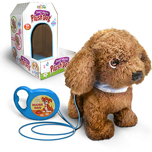 kid labsters Kids Walking and Barking Puppy Dog Toy Pet with Remote Control Leash (Brown)