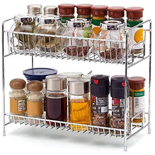 Rack de almacenamiento de especias de dos capas, rack de almacenamiento de tapa de lata de acero inoxidable para utensilios de cocina para el hogar, bastidor de condimento multifuncional de doble capa