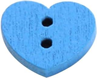 Bomcomi 28pcs Colorful Buttons Wooden Heart Shape Kindergarten Handmade Button heart button Set Children DIY Crafts,Sky Blue sky blue