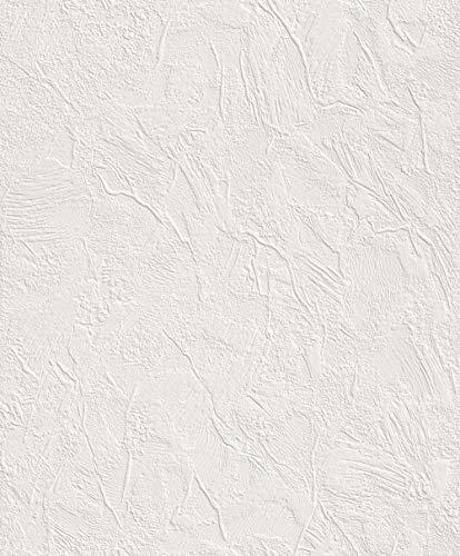 rasch Tapete 470604 – Einfarbige Vliestapete in Weiß mit grober Struktur in Putzoptik – 10,05m x 53cm (L x B)