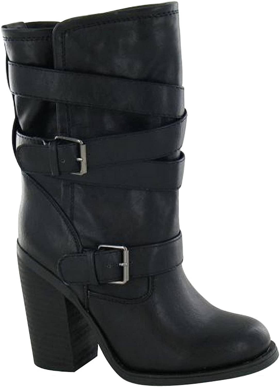 Spot On Womens Ladies Buckle Up High Heeled Boots