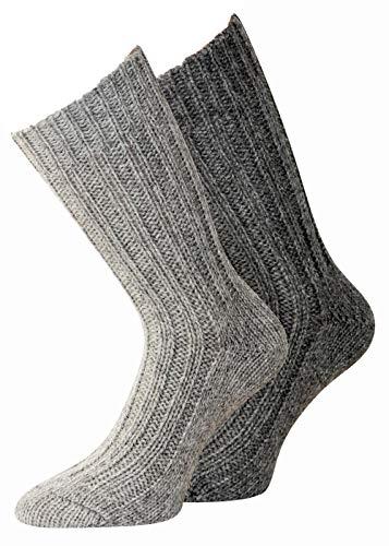 kb-Socken Alpaka Socken für Herren und Damen dick oder dünn gestrickt mit Alpaka Wolle Socken in Naturfarben 2 Paar