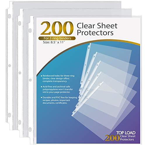 Ktrio Sheet Protectors 8.5 x 11 Inches Clear Page Protectors for 3 Ring Binder, Plastic Sleeves for Binders, Top Loading Paper Protector Acid Free Letter Size, 200 Pack
