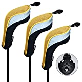 Andux 3 Pack Golf Hybrid Club Head Covers Interchangeable No. Tag MT/HY02 Black