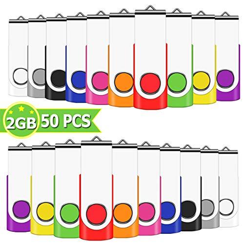 EASTBULL USB Sticks 2GB 50 Stück Speichersticks Bunt Memory Stick 2 GB Einklappbarer DatenSpeicherung Mehrfarbige (2GB, Mehrfarbig 50 Pack)