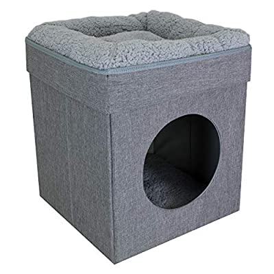 Kitty City Large Gray Cat Bed, Stackable Cat Cube, Indoor Cat House/Cat Condo