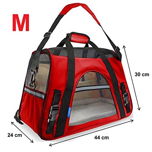 600D Transporttasche Reisetasche Tasche Hund Katze Hase Kaninchen andere Kleintiere mit Flugzulassung (Rot (M))