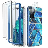 Zectoo for Samsung Galaxy S20 FE 5G Case, 2 Pack Screen Protector + 2 Pack Camera Lens Protector, Hybrid Full Body Shockproof Elegant Marble Protective Cases for Galaxy S20 Fan Edition 5G, Ocean Blue