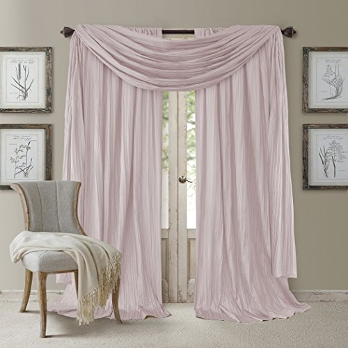 Elrene Home Fashions Venice Curtain Panels with Scarf Valance - Set of 3 -...