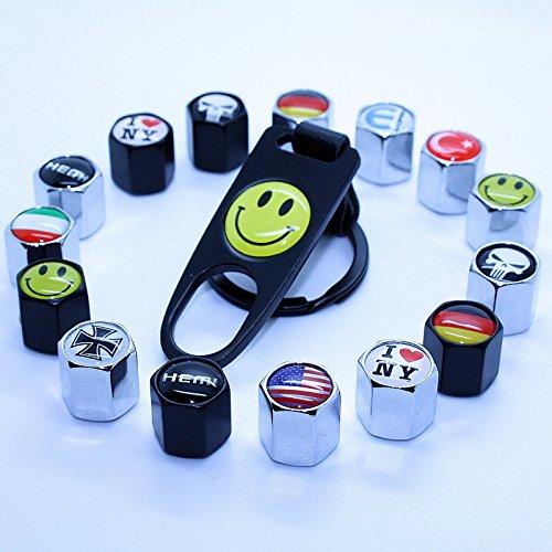 LED-Mafia 4 Ventilkappen + Schlüsselanhänger - Ventil Chrom Shocker USA Deutschland Smile - Anhänger Schlüsselring Etui Schlüssel (Shocker - Chrom)