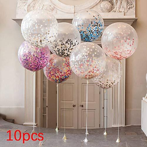 Rouku 10pcs Multicolor Konfetti Ballon Papierlaterne Wunschlaternen für Geburtstagsfeier Hochzeitsdekor Transparente klare Ballon