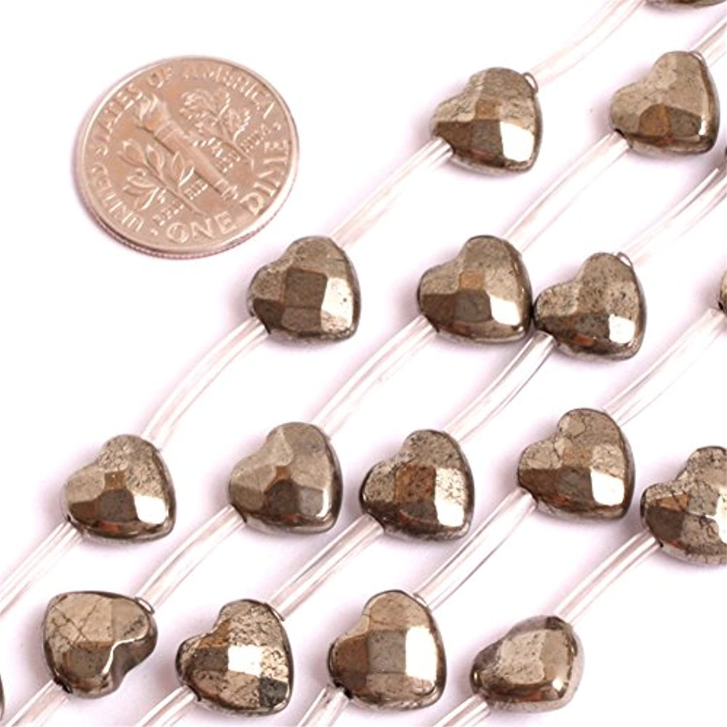 Pyrite Beads for Jewelry Making Natural Gemstone Semi Precious 9mm 20Pcs Faceted Heart 15